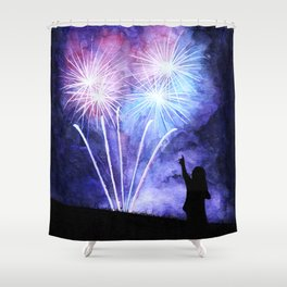 Blue and pink fireworks Shower Curtain