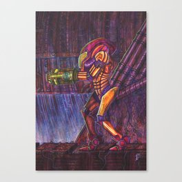 Old School Metroid Samus Aran NES Canvas Print