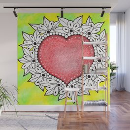 Watercolor Doodle Art | Heart Wall Mural