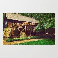 virginia Area & Throw Rugs featuring  Gristmill - Charlottesville, Virginia by Judy Palkimas