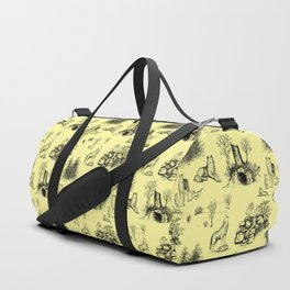 Eurasian Wolf Toile Pattern (Yellow and Black) Duffle Bag