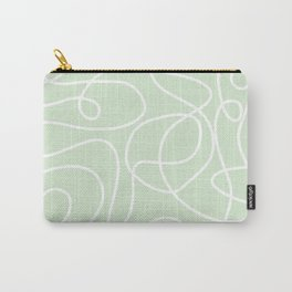 Doodle Line Art | White Lines on Palest Green Carry-All Pouch