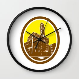 Tower of Palazzo Vecchio Florence Low Woodcut Wall Clock