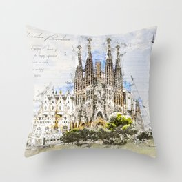 Sagrada Familia, Barcelona Spain Throw Pillow