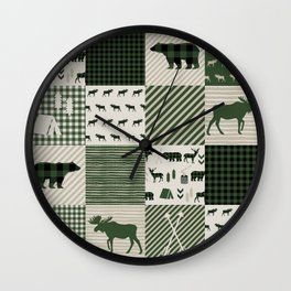 Camping hunter green plaid quilt cheater quilt baby nursery cute pattern bear moose cabin life Wall Clock