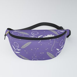 Purple Floral and Feather Pattern Fanny Pack