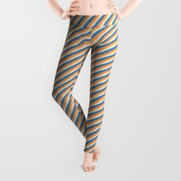 Blue, Brown & Bisque Colored Striped/Lined Pattern Leggings