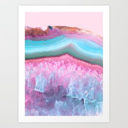 Rose Quartz and Serenity Agate Art Print