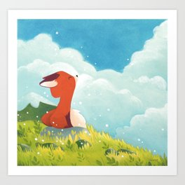 Little fox in the wind Art Print