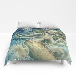 mermaid with Flowers in her hair Comforters