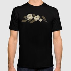 Magnolias Branch X-LARGE Black Mens Fitted Tee