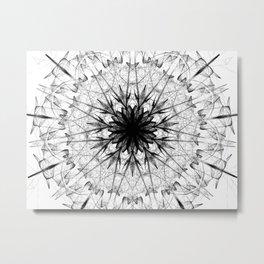 Black Ice Star Mandala Metal Print