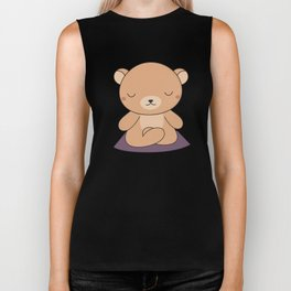 Kawaii Cute Yoga Bear Biker Tank