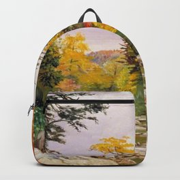 Autumn tints & foliage in the White Mountains, New Hampshire landscape nature painting by Marianne North Backpack