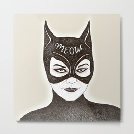 Cat Woman Sketch Meow Metal Print