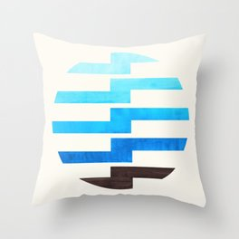 Minimalist Mid Century Circle Frame Cerulean Blue Zig Zag Colorful Lightning Bolt Geometric Pattern Throw Pillow
