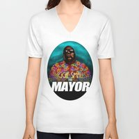 biggie smalls V-neck T-shirts featuring Biggie Smalls for Mayor by Tom Brodie-Browne