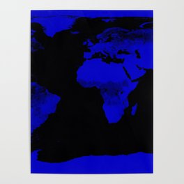 worlD Map Blue & Black Poster