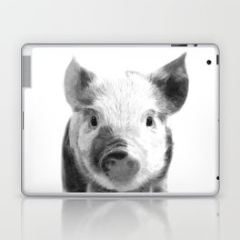 Black and white pig portrait Laptop & iPad Skin