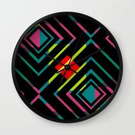 Black diamonds and bright shapes Wall Clock