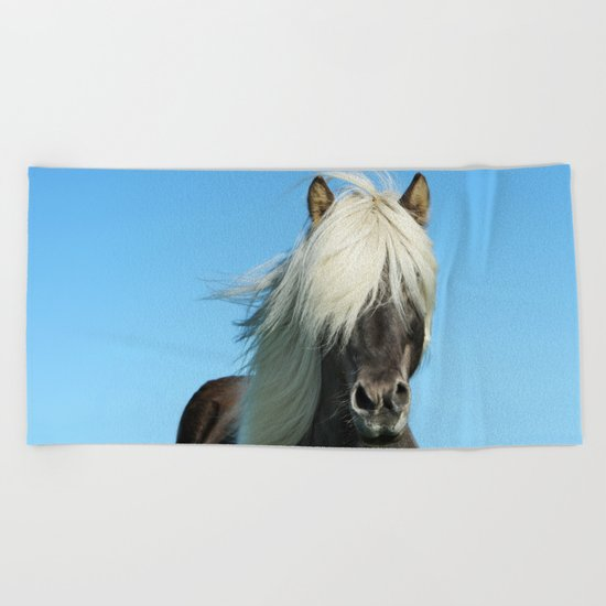 Portrait of a Horse in Scotish Highlands Beach Towel