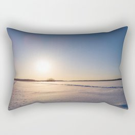 Clear Day on Snowy Lake Ice Rectangular Pillow