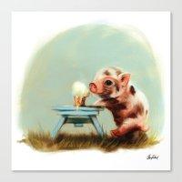 piglet Canvas Prints featuring Piglet by Artofokan