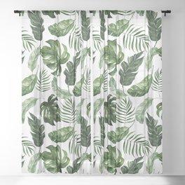 Tropical Leaf Sheer Curtain