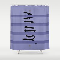 buzz lightyear Shower Curtains featuring Buzz Andy by bitobots