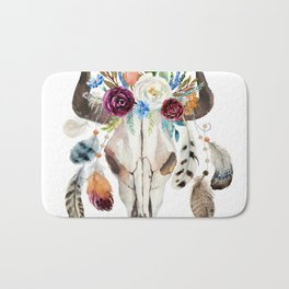 Dreamcatcher skull feathers & flowers Bath Mat