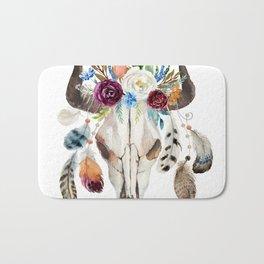 Dreamcatcher skull feathers & flowers Bath Mat