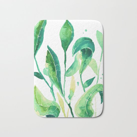 new water color leaves Bath Mat