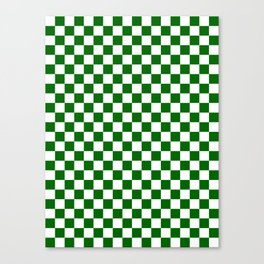 Small Checkered - White and Dark Green Canvas Print