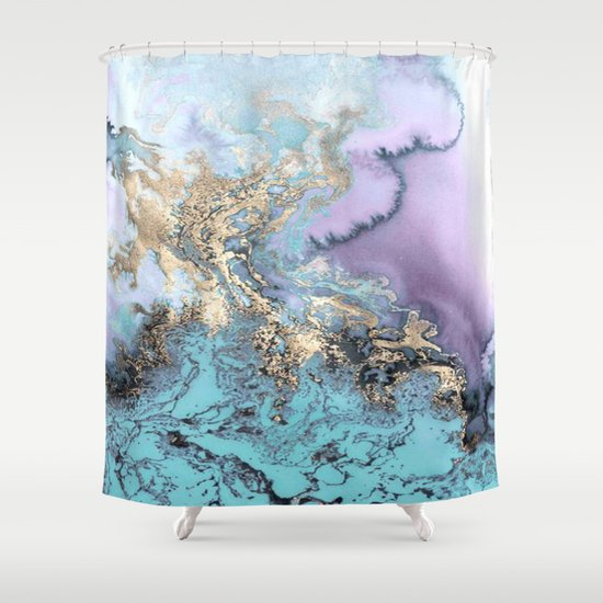 Gold Dreams Purple Blue Marble Shower Curtain By