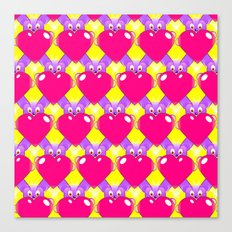 Hot Pink Hearts and Teddy Bears Canvas Print