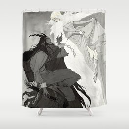 Krampus and Perchta Shower Curtain