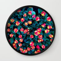 tulips Wall Clocks featuring Tulips by Madison Webb