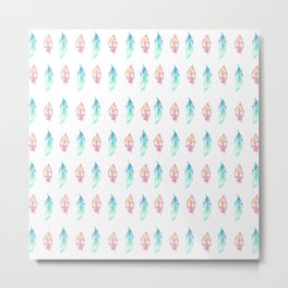 Bohemian pink teal orange watercolor feathers patterns Metal Print