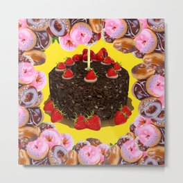 PINK FROSTED DONUTS BIRTHDAY PARTY Metal Print
