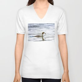 Great crested grebe and its catch Unisex V-Neck
