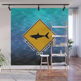 Funny Shark Sign. Wall Mural