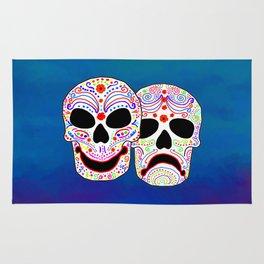 Comedy-Tragedy Colorful Sugar Skulls Rug