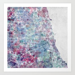 Chicago map Art Print