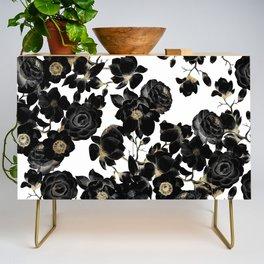 Modern Elegant Black White and Gold Floral Pattern Credenza