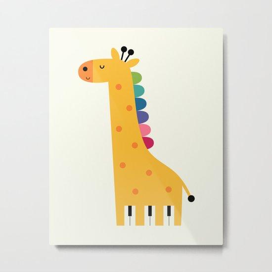 Giraffe Piano Metal Print