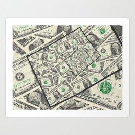 Dollar Bills Design Art Print