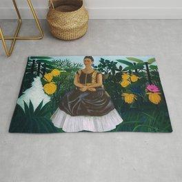 Frida's Garden, Frida Kahlo's Casa Azul, Coyoacán, Mexico rainforest floral landscape painting Rug