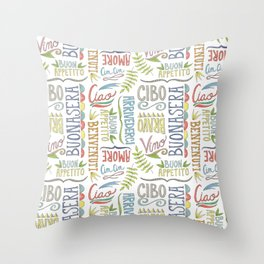 hand lettered italian word pattern Throw Pillow
