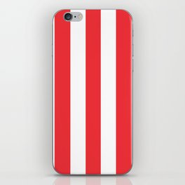 Deep carmine pink - solid color - white vertical lines pattern iPhone Skin