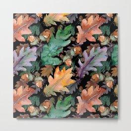 Colorful Woodland Watercolor Oak And Acorn Pattern Metal Print